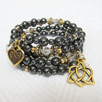 Hematite and Crystal and Gold-Plate Adult Celtic Wrap Bracelet
