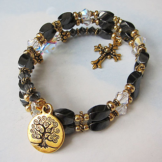 Rosary Wrap Christian Bracelet with Tree of Life and Hematite