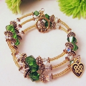 Celtic Claddagh Crystal Adult Wrap Bracelet