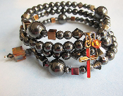 Black Hematite Rosary Wrap Bracelet with Gold and Copper Tones