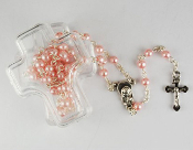 Small Pink Faux Pearl Rosary in Cross Box