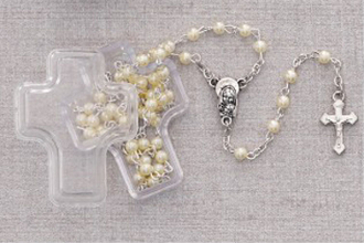 Small White Faux Pearl Rosary in Cross Box