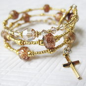 Rosary Wrap Bracelet in Gold Beads