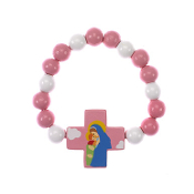 Child's Mary and Jesus Wood Stretch Bracelet