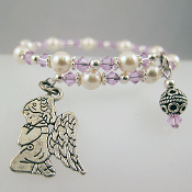 Swarovski Violet and Crystal Pearls Angel Wrap Bracelet