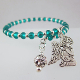 Teal Glass Bead Guardian Angel Wrap Bracelet
