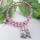 Pink and Silver-plated Bead Guardian Angel Wrap Bracelet