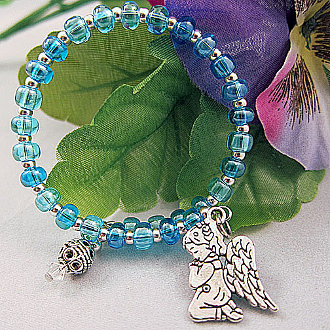 Blue and Silverplated Bead Guardian Angel Wrap Bracelet
