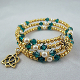 Crystal Emerald and Faux Pearl Gold Bead Wrap Bracelet