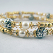 Wrap Bracelet in Gold and Silver Tones with Swarovski Crystals