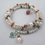 Swarovski Red and Pearl Crystal with Silver Bead Wrap Bracelet