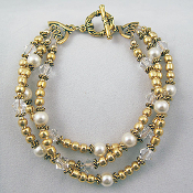 Fancy 3 Strand Faux Pearls and Gold Bead Bracelet