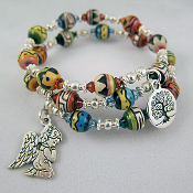 Peruvian Beads and Guardian Angel Wrap Bracelet