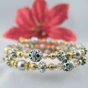 Light Gray Faux Pearl and Gold Bead Wrap Bracelet