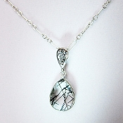 Rutilated Quartz Pendant and Sterling Silver Necklace