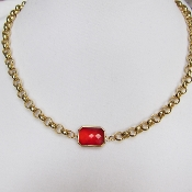 Red Siam Faceted Pendant with Gold-Plated Rollo Chain Necklace