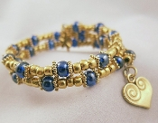 Blue and Gold Bead Wrap Bracelet with Heart and Four-Leaf Clover