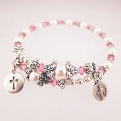 Rosary Wrap Bracelet with Swarovski Faux Pearl and Pink Crystals