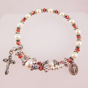 Rosary Wrap Bracelet with Swarovski Faux Pearls and Red Crystals