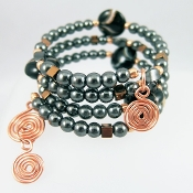 Hematite and Copper Multi-Strand Wrap Bracelet and Earrings