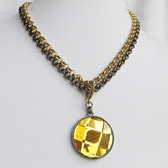 Two Tone Two Way Pendant Necklace