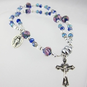 Blue Crystal Rosary Bracelet with Magnetic Clasp