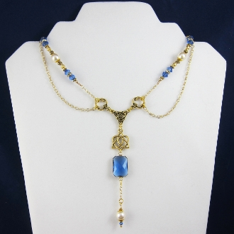 Gold and Blue Crystal Faux Pearl Celtic Dangle Necklace in Box