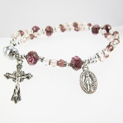 Purple Crystal Rosary Bracelet with Magnetic Clasp