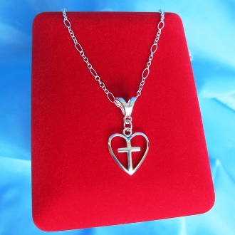 "Sterling Silver Christian Heart Cross 16"" Necklace"