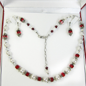Swarovski Crystals and Czech Red Bead Earring and Necklace Set