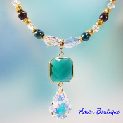 Swarovski Crystal Pendant and Czech Bead Necklace