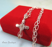 Small Sterling Silver Fancy Cross Pendant Necklace