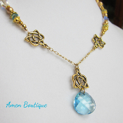 Blue and Gold Celtic Knot Pendant Necklace with Swarovski Beads
