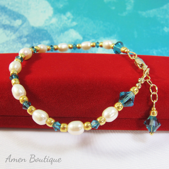 Pearls and Swarovski Indicolite Blue Crystal Bracelet