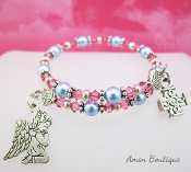 Angel Rosary Bracelet with Pink and Blue Swarovski Crystals