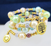 Tree of Life Faux Pearl Rainbow Color Wrap Bracelet