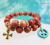 Christian Peace Wood Bead Wrap Bracelet
