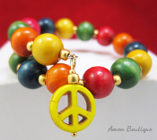 Multi Color Wood Bead Christian Peace Wrap Bracelet