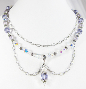 Lilac Czech Cathedral and Swarovski Faux Pearl Bead Necklace