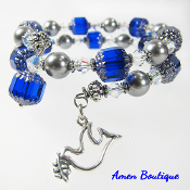 Silver Peace Dove Bracelet Blue Czech and Gray Swarovski Beads