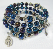Rosary Wrap Bracelet with Blue  Czech Beads and Miraculous Medal