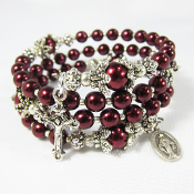 Rosary Wrap Bracelet with Burgundy Red Czech Beads