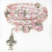 Sterling Trinity Cross on Pink Czech Bead Rosary Wrap Bracelet