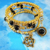 Celtic Triquetra Trinity Heart and Black Jasper Wrap Bracelet
