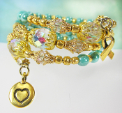 Awareness Ribbon Wrap Bracelet with Turquoise Color Beads