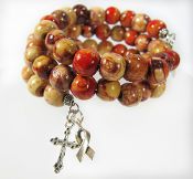 Wood Beads Awareness Bracelet with Tree of Life and Cross