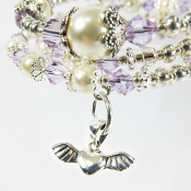 Silver Wing Heart And Swarovski Violet Crystals and Faux Pearls