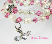 Silver Wing Heart With Pink Crystals and Faux Pearl Bracelet