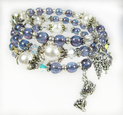 Wine Love Blue Czech and Swarovsk Faux Pearl Bead Wrap Bracelet