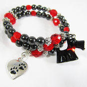 Scottish Terrier Hematite Double Wrap Bracelet